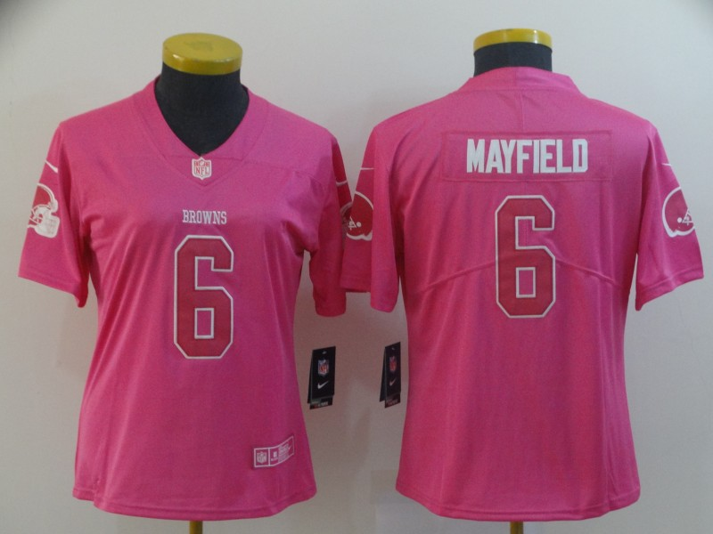 Women Cleveland Browns 6 Mayfield pink Nike Vapor Untouchable Limited NFL Jersey