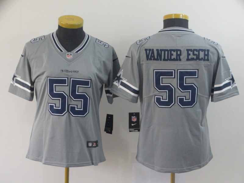 Women Dallas Cowboys 55 Vander Esch Grey Nike Vapor Untouchable Limited NFL Jersey