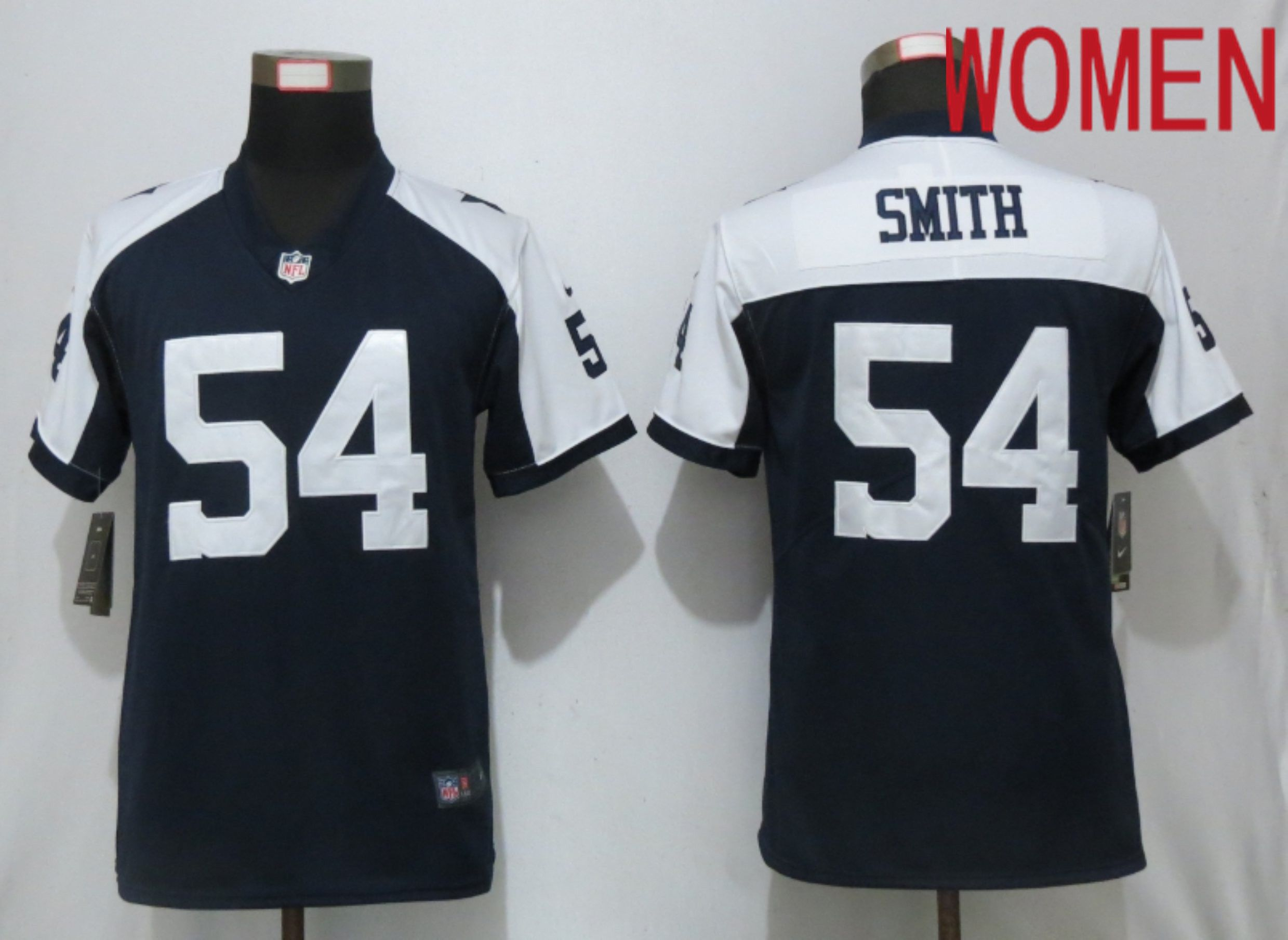 Women Dallas cowboys 54 Smith Blue Nike Thanksgiving Limited NFL Jerseys