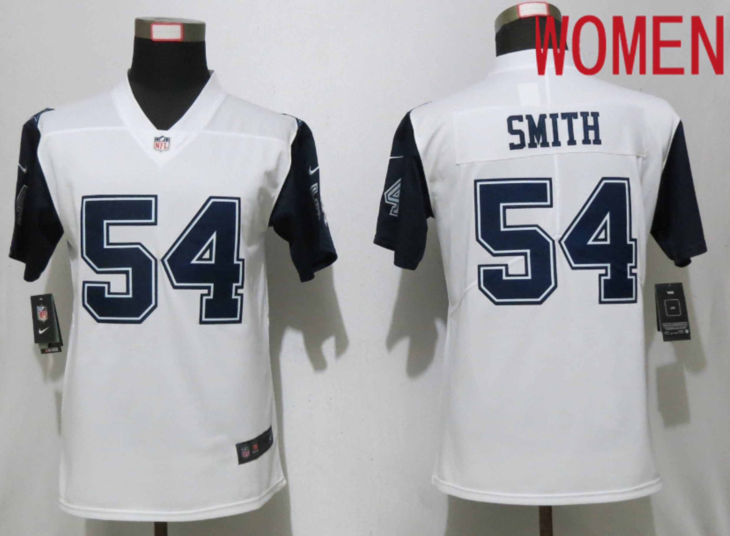 Women Dallas cowboys 54 Smith White Nike Thanksgiving Limited NFL Jerseys