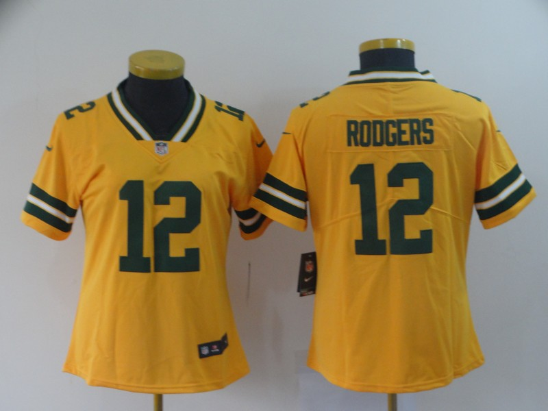 Women Green Bay Packers 12 Rodgers yellow Nike Vapor Untouchable Limited NFL Jerse