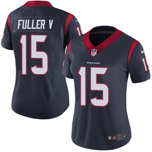 Women Houston Texans 15 Fuller V blue Nike Vapor Untouchable Limited NFL Jersey