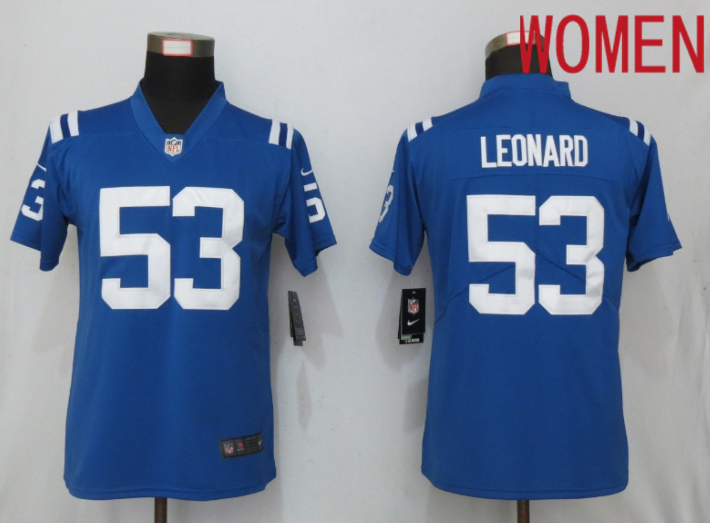 Women Indianapolis Colts 53 Leonard Blue Nike Vapor Untouchable Playe NFL Jerseys