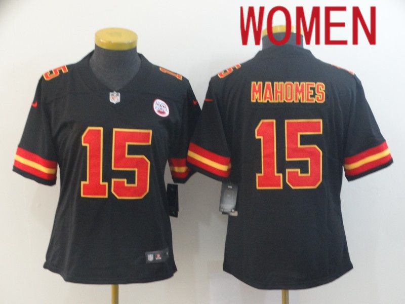 Women Kansas City Chiefs 15 Mahomes Black Nike Vapor Untouchable Limited NFL Jersey