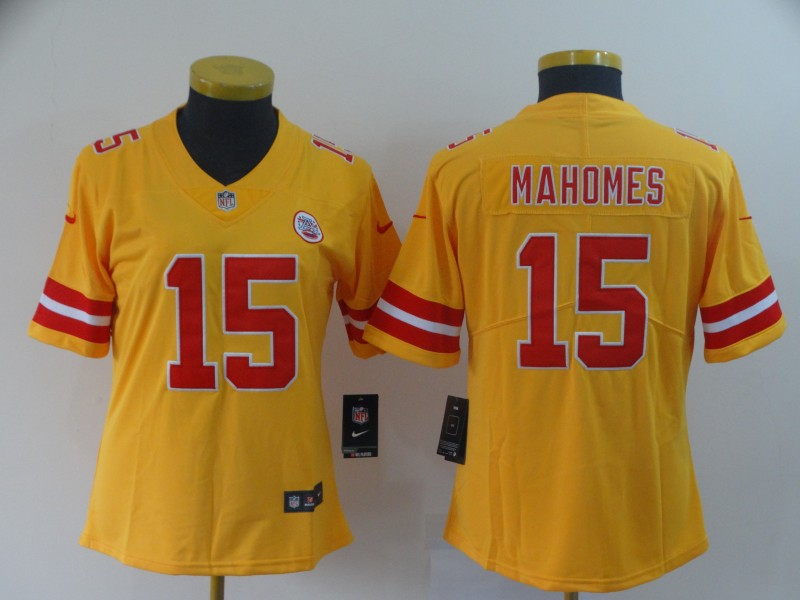 Women Kansas City Chiefs 15 Mahomes yellow Nike Vapor Untouchable Limited NFL Jerseys
