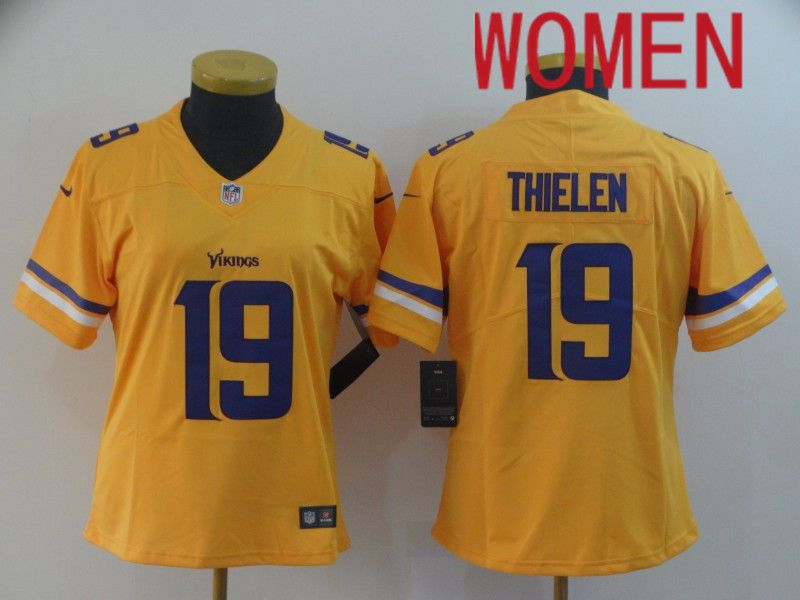 Women Minnesota Vikings 19 Thielen Yellow Nike Vapor Untouchable Limited NFL Jersey