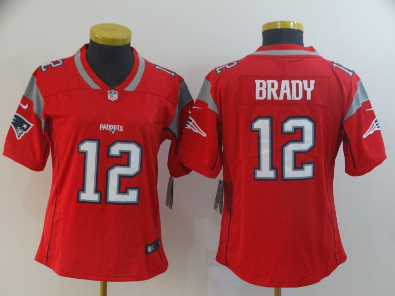 Women New England Patriots 12 Brady red Nike Vapor Untouchable Limited NFL Jersey