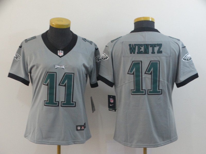 Women Philadelphia Eagles 11 Wentz Grey Nike Vapor Untouchable Limited NFL Jerseys