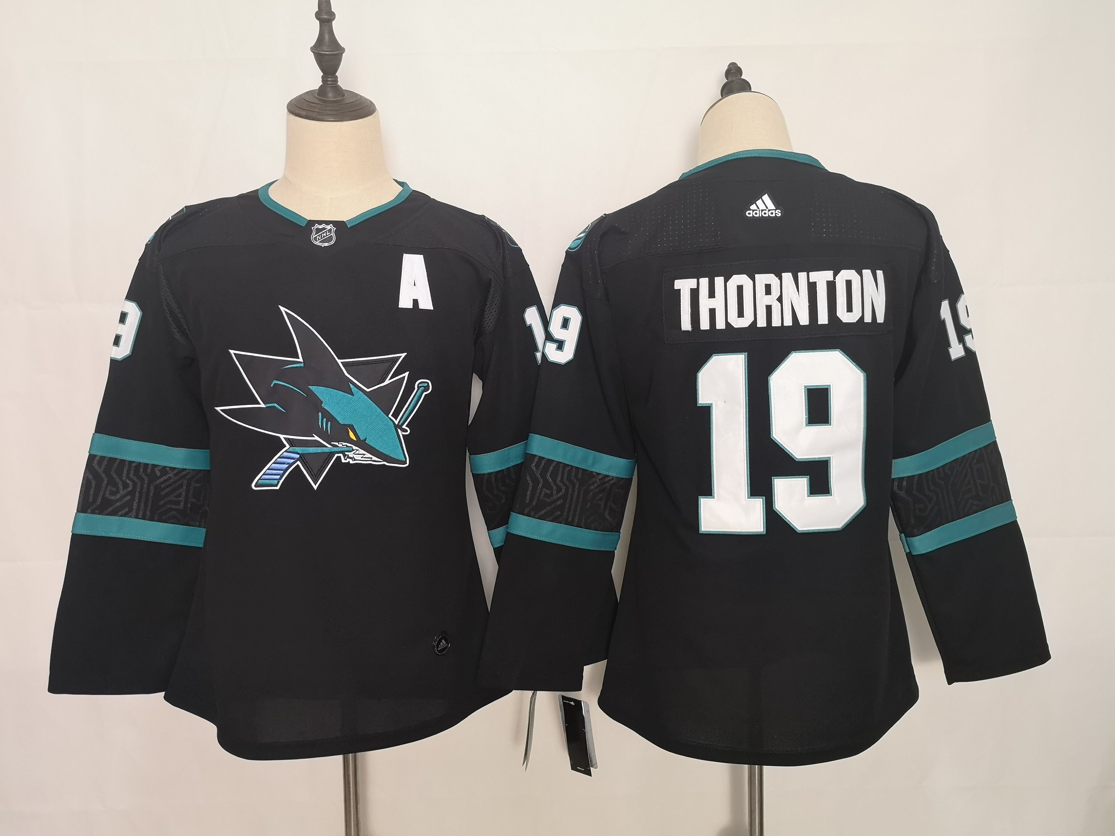 Women San Jose Sharks 19 Thornton Black Adidas Stitched NHL Jersey