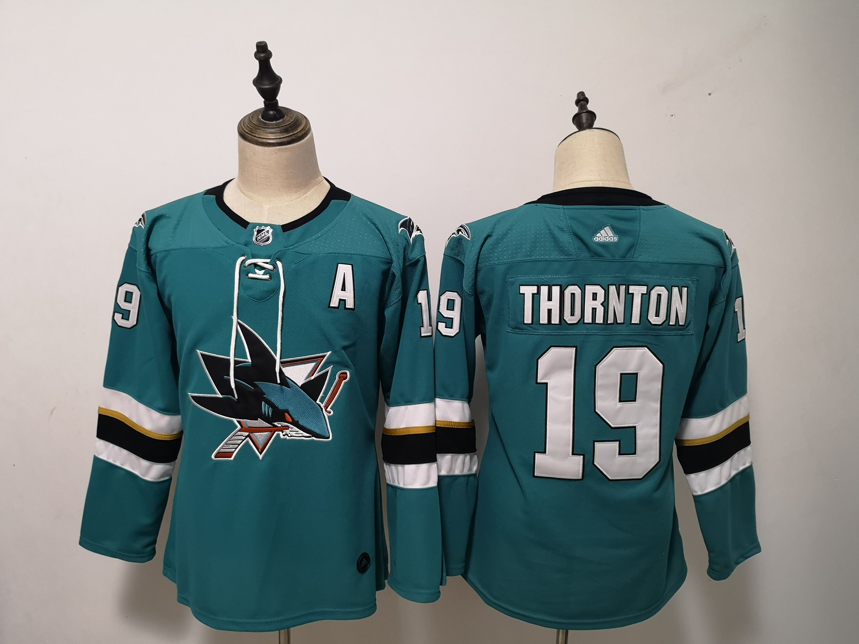 Women San Jose Sharks 19 Thornton Green Adidas Stitched NHL Jersey
