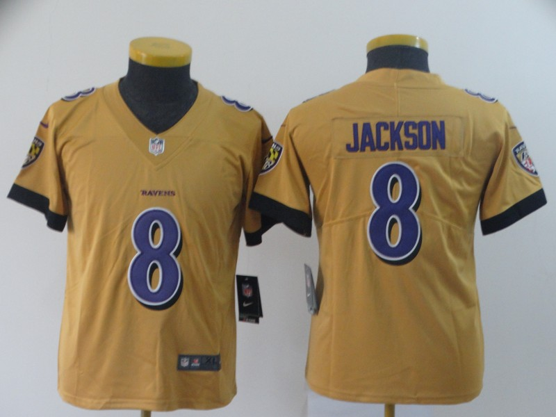 Youth Baltimore Ravens 8 Jackson yellow Nike Vapor Untouchable Limited NFL Jersey