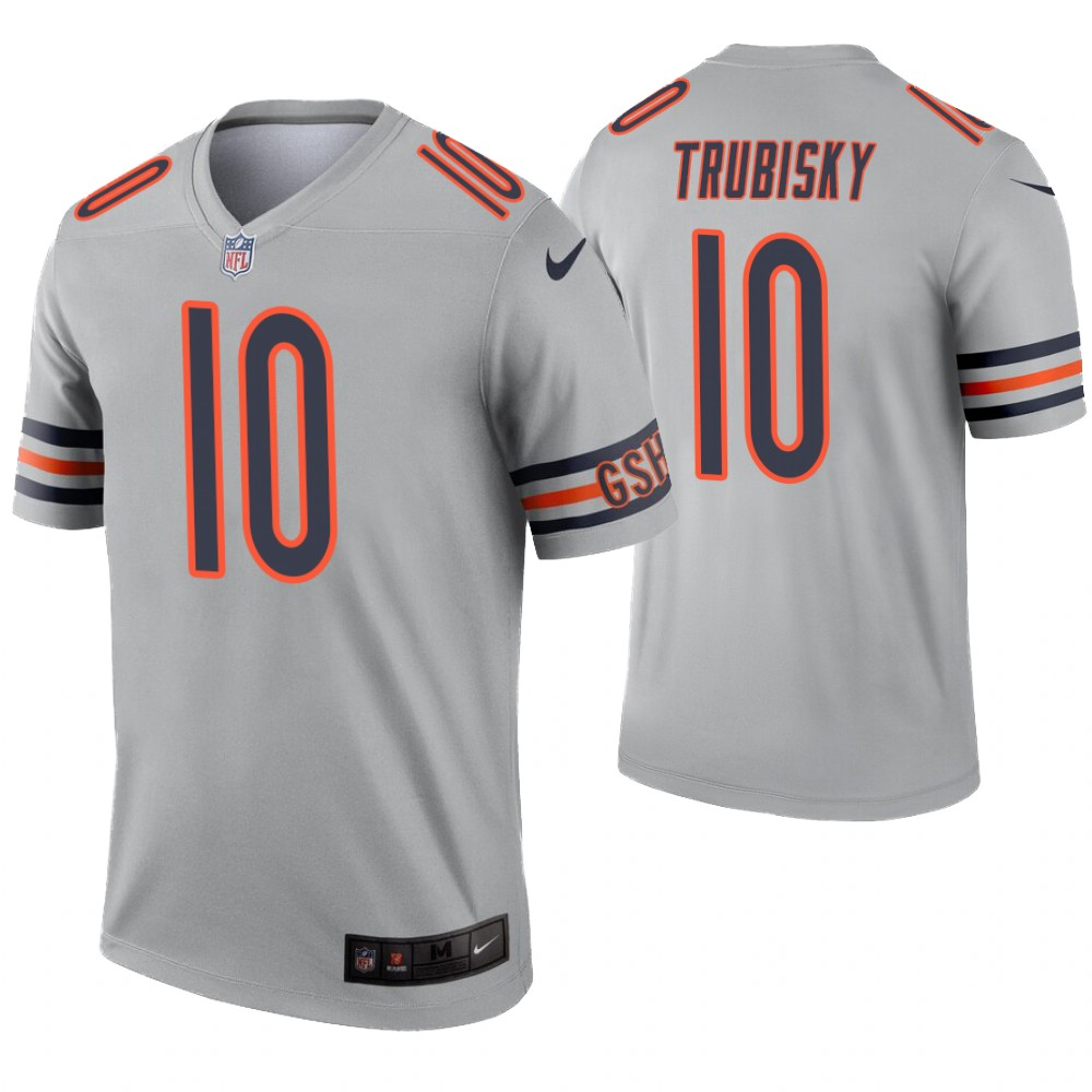 Youth Chicago Bears 10 Trubisky grey Nike Vapor Untouchable Limited NFL Jersey