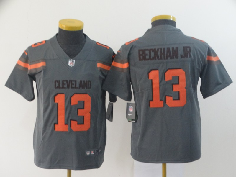 Youth Cleveland Browns 13 Beckham Jr Nike grey Limited NFL Jerseys