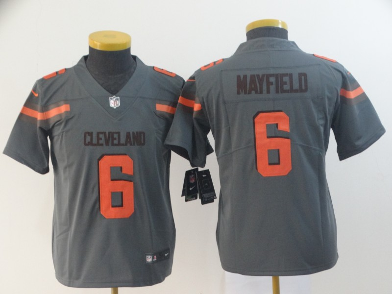 Youth Cleveland Browns 6 Mayfield Nike grey Limited NFL Jerseys