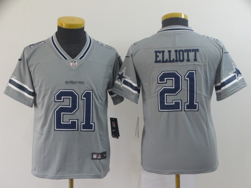 Youth Dallas Cowboys 21 Elliott grey Nike Vapor Untouchable Limited NFL Jersey