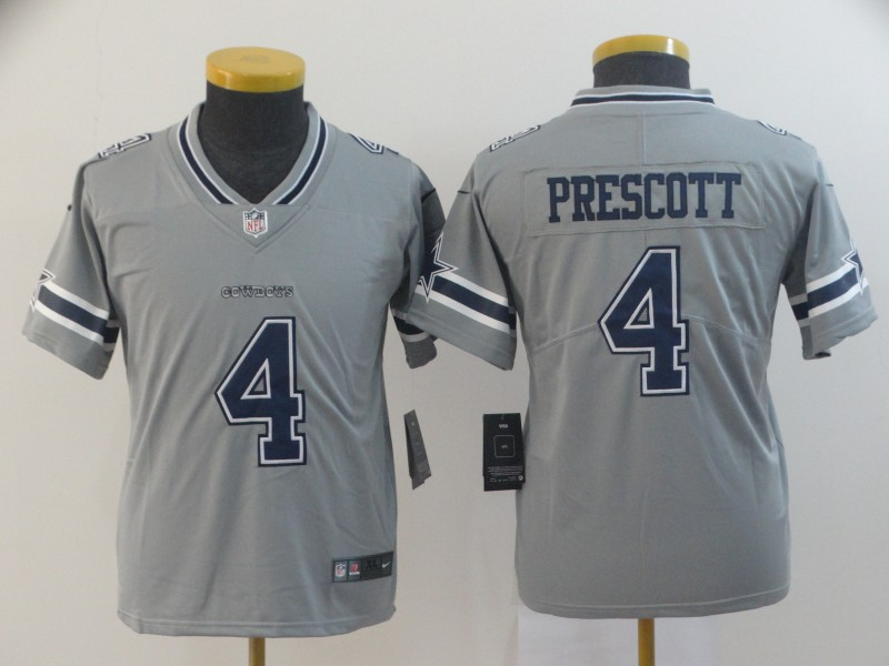 Youth Dallas Cowboys 4 Prescott grey Nike Vapor Untouchable Limited NFL Jerseys