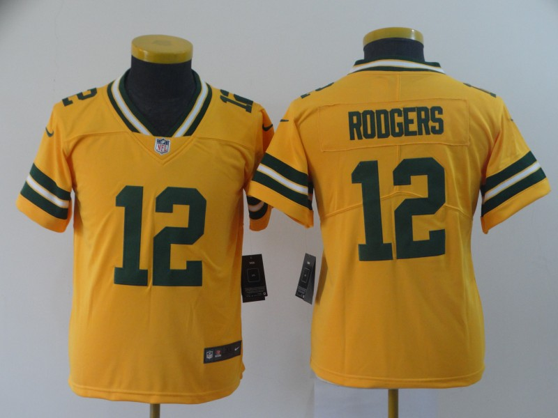 Youth Green Bay Packers 12 Rodgers yellow Nike Vapor Untouchable Limited NFL Jerse
