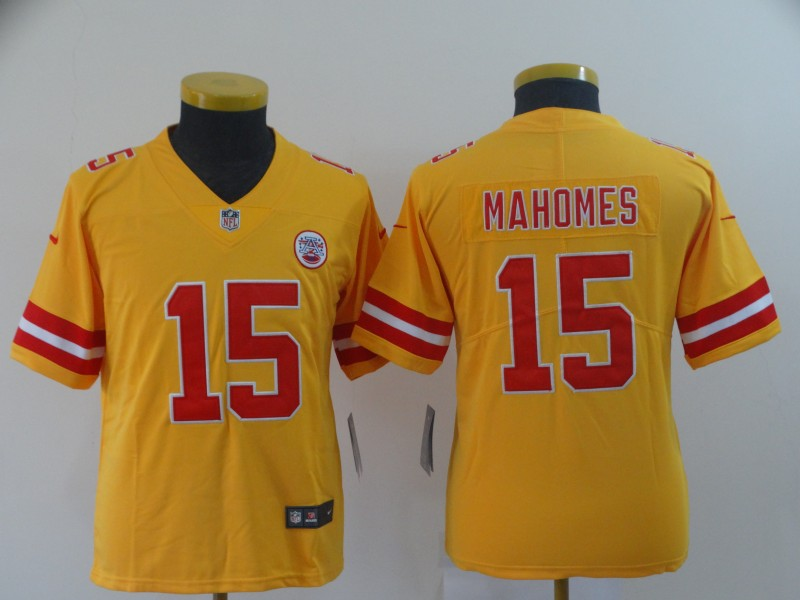 Youth Kansas City Chiefs 15 Mahomes yellow Nike Vapor Untouchable Limited NFL Jerseys