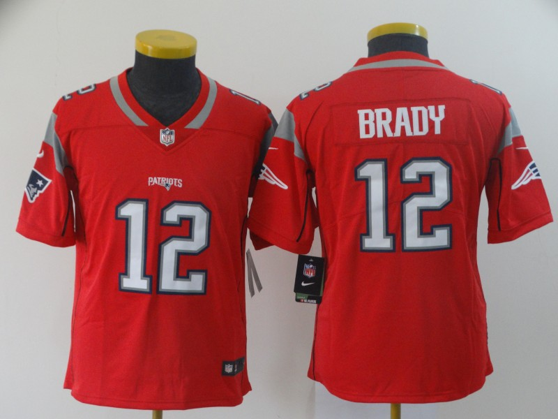 Youth New England Patriots 12 Brady red Nike Vapor Untouchable Limited NFL Jersey