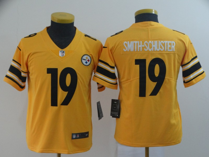 Youth Pittsburgh Steelers 19 Smith-Schuster yellow Nike Limited NFL Jerseys