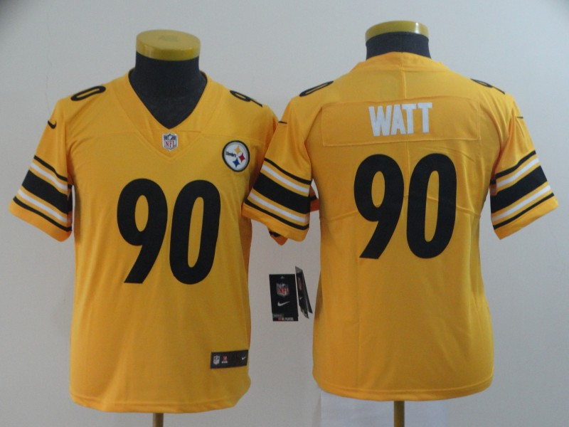 Youth Pittsburgh Steelers 90 Watt yellow Nike Limited NFL Jerseys