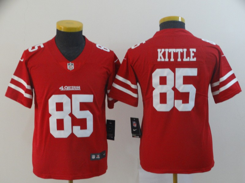 Youth San Francisco 49ers 85 Kittle Red Nike Vapor Untouchable Limited Player NFL Jerseys