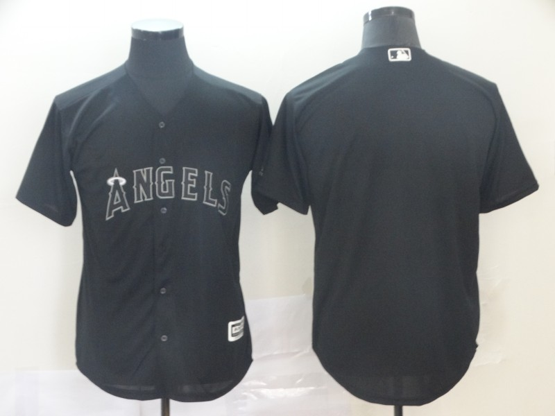 customized Men Los Angeles Angels blank black MLB Jerseys