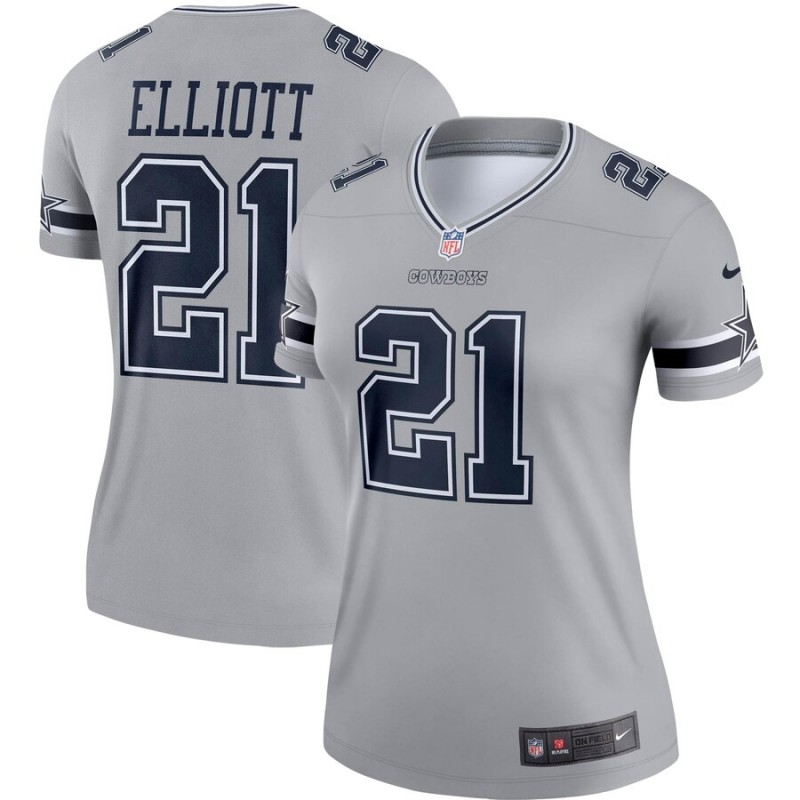 women Dallas Cowboys 21 Elliott Nike grey Limited NFL Jersey
