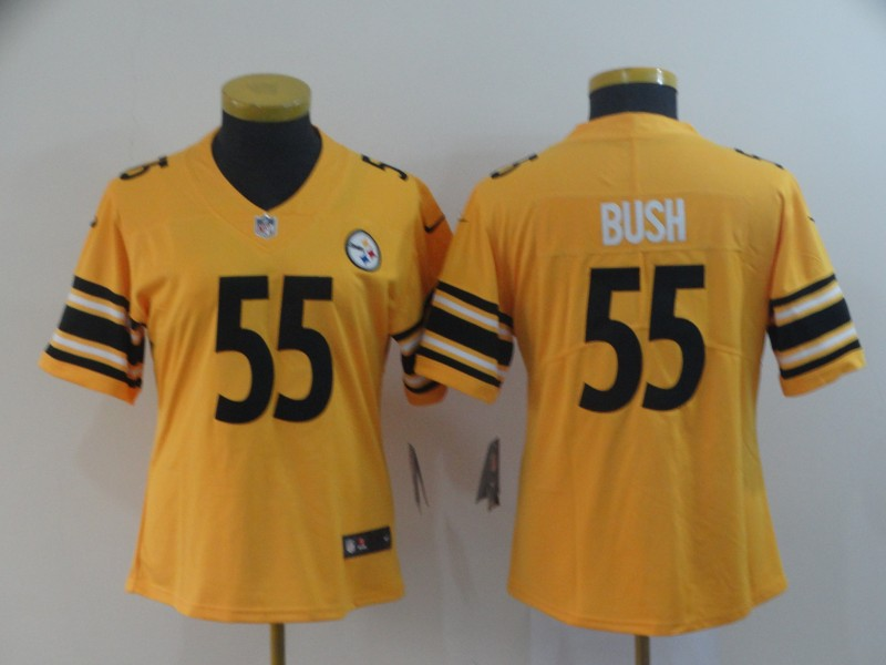 women Pittsburgh Steelers 55 Bush yellow Nike Limited NFL Jerseys