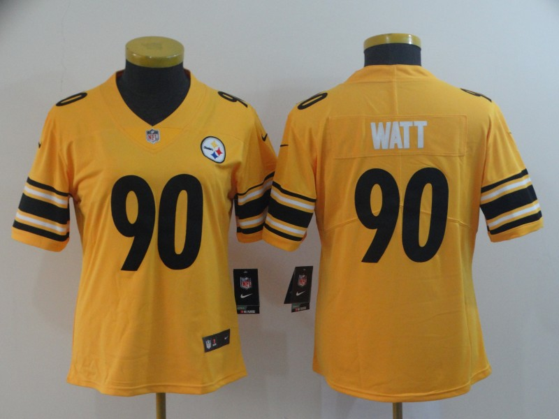 women Pittsburgh Steelers 90 Watt yellow Nike Limited NFL Jerseys