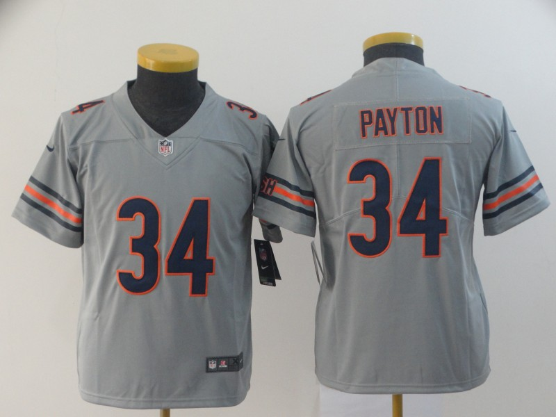 youth Chicago Bears 34 Payton Grey Nike Limited NFL Jerseys