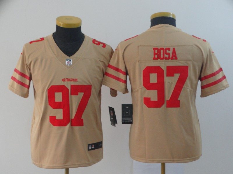 youth San Francisco 49ers 97 Bosa 2019 Vapor Untouchable Nike Yellow Inverted Legend NFL Jerseys