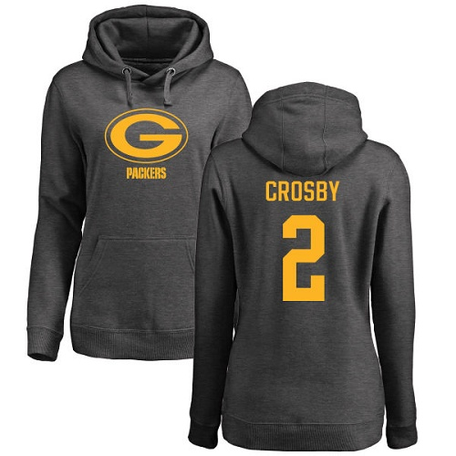 Green Bay Packers Ash Women 2 Crosby Mason One Color Nike NFL Pullover Hoodie