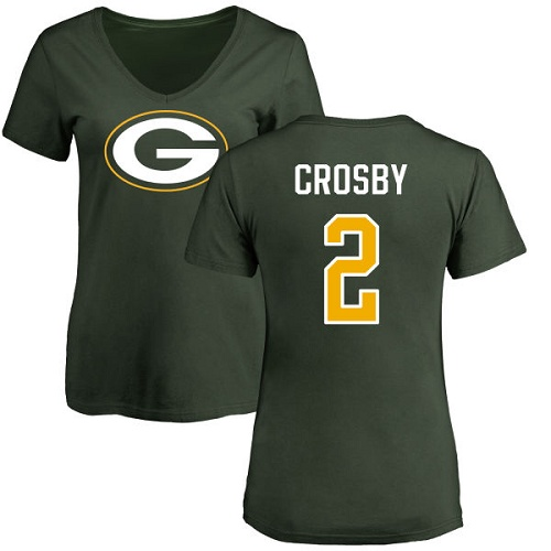 Green Bay Packers Green Women 2 Crosby Mason Name And Number Logo Nike NFL T Shirt
