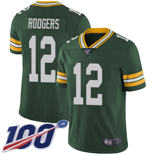 Green Bay Packers Limited Green Men 12 Rodgers Aaron Home Jersey Nike NFL 100th Season Vapor Untouchable