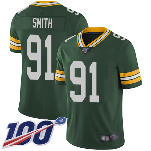 Green Bay Packers Limited Green Men 91 Smith Preston Home Jersey Nike NFL 100th Season Vapor Untouchable