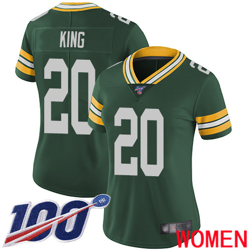Green Bay Packers Limited Green Women 20 King Kevin Home Jersey Nike NFL 100th Season Vapor Untouchable