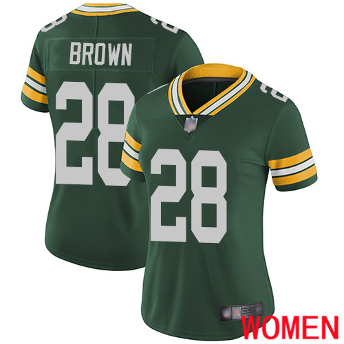 Green Bay Packers Limited Green Women 28 Brown Tony Home Jersey Nike NFL Vapor Untouchable