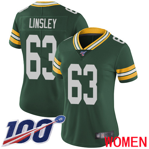 Green Bay Packers Limited Green Women 63 Linsley Corey Home Jersey Nike NFL 100th Season Vapor Untouchable