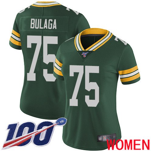 Green Bay Packers Limited Green Women 75 Bulaga Bryan Home Jersey Nike NFL 100th Season Vapor Untouchable