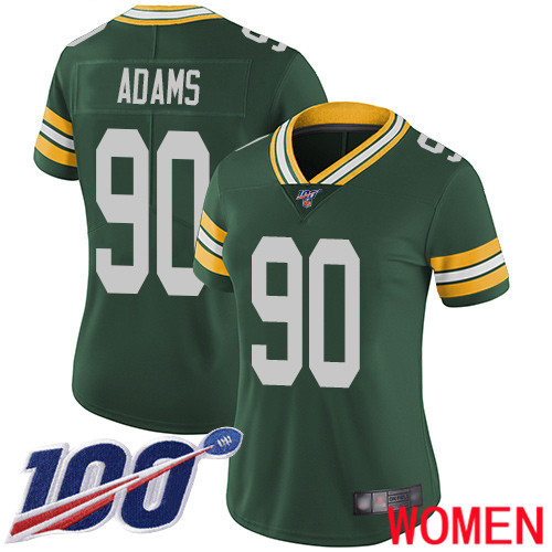 Green Bay Packers Limited Green Women 90 Adams Montravius Home Jersey Nike NFL 100th Season Vapor Untouchable