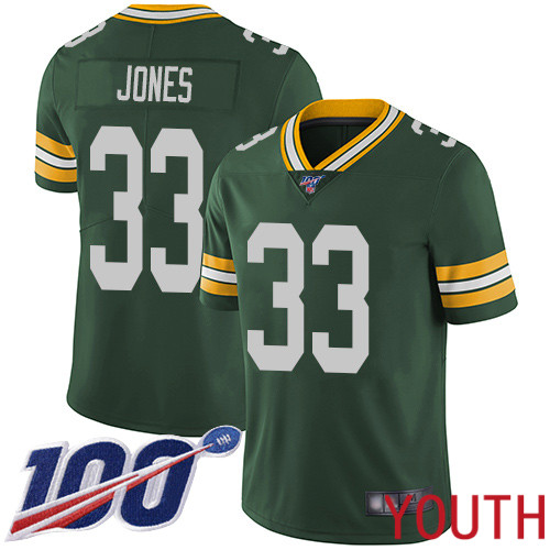 Green Bay Packers Limited Green Youth 33 Jones Aaron Home Jersey Nike NFL 100th Season Vapor Untouchable