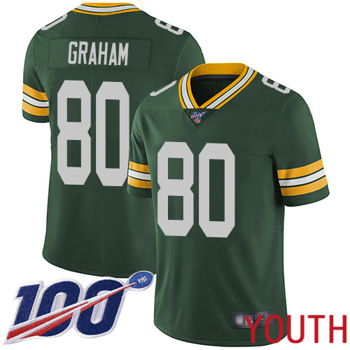 Green Bay Packers Limited Green Youth 80 Graham Jimmy Home Jersey Nike NFL 100th Season Vapor Untouchable