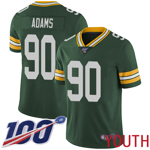 Green Bay Packers Limited Green Youth 90 Adams Montravius Home Jersey Nike NFL 100th Season Vapor Untouchable