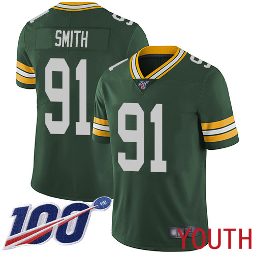 Green Bay Packers Limited Green Youth 91 Smith Preston Home Jersey Nike NFL 100th Season Vapor Untouchable