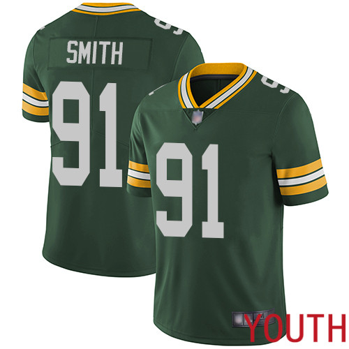 Green Bay Packers Limited Green Youth 91 Smith Preston Home Jersey Nike NFL Vapor Untouchable