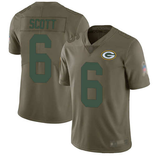 Green Bay Packers Limited Olive Men 6 Scott J K Jersey Nike NFL 2017 Salute to Service