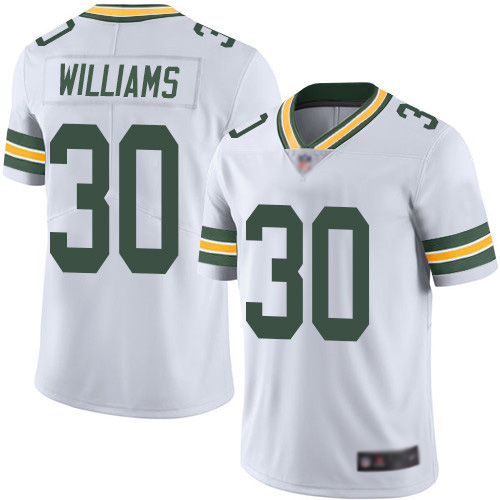 Green Bay Packers Limited White Men 30 Williams Jamaal Road Jersey Nike NFL Vapor Untouchable