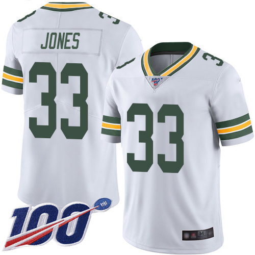 Green Bay Packers Limited White Men 33 Jones Aaron Road Jersey Nike NFL 100th Season Vapor Untouchable