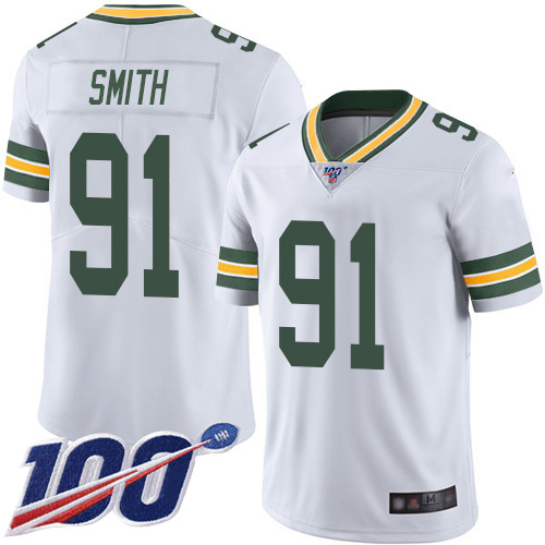 Green Bay Packers Limited White Men 91 Smith Preston Road Jersey Nike NFL 100th Season Vapor Untouchable